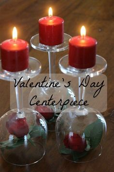 I love this DIY Valentine's Day Centerpiece. Maybe because it's not too 'Valentine-y'? It's pretty, has a red theme, uses candles, wineglasses and roses. I think it's perfect for Valentines Day. Or any other special day!  It's a simple centerpiece that you can easily diy!  Plus you get to repurpose those wineglasses you don't use