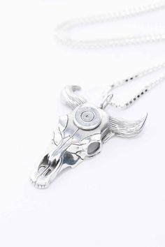 Lovebullets Bullet Skull Pendant Necklace in Silver