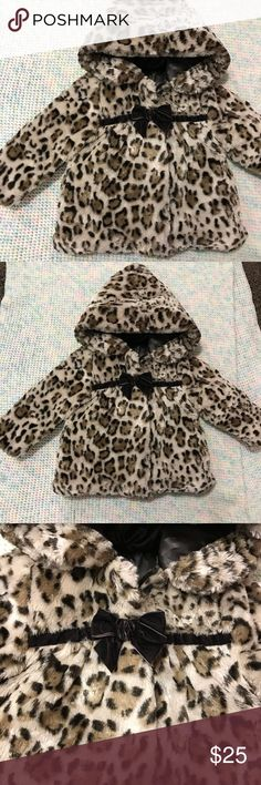 Faux Fur Leopard Print Coat Has a satin lining. Good used condition. No tears. Jackets & Coats