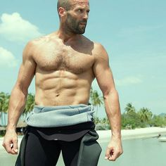 Jason Statham shirtless in a wetsuit