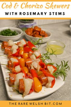 These cod and chorizo skewers are barbecued on rosemary stems for an aromatic touch. #ChorizoBBQ #SpanishChorizo #chorizorecipes #codrecipes Cod Recipes, Entree Recipes, Fish Recipes, Seafood Recipes, Homemade Aioli, Chorizo Recipes, Dessert For Dinner, Food For A Crowd