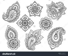 Set of Mehndi flower pattern for Henna drawing and tattoo. Decoration in ethnic oriental, Indian style. Small Henna Designs, Beginner Henna Designs, Mehndi Art Designs, Tattoo Designs, Flower Pattern Drawing, Flower Pattern Design, Embroidery Flowers Pattern, Flower Patterns, Henna Doodle