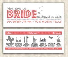 super cute! 40 invitation sets, Bachelorette Party Invitations, Girls Night Out Party, Lingerie Party, DIY, Skyline, Bridal Shower, Lingerie Shower via Etsy