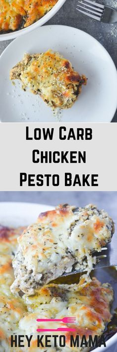 This Low Carb Chicken Pesto Bake is an amazing comfort meal that's actually good for you! It's full of flavor, warmth and CHEESE...doesn't get much better than that!   heyketomama.com