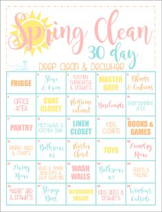 A fun way to deep clean your home in 30 days! Use this 30 Day Spring Cleaning Schedule to guide and motivate you to a clean house within the next month. Cleaning The 30 Day CLEAN HOME Challenge: Spring Clean Up Printable Cleaning Calendar