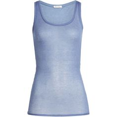American Vintage Cotton Tank (9.493 KWD) ❤ liked on Polyvore featuring tops, blue, scoopneck top, scoop neck tank top, slimming tank, scoop neck top and cotton tank