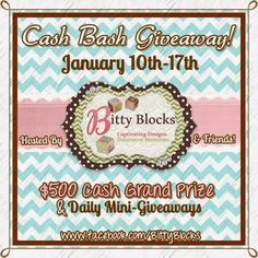 ENTER now to WIN $500!!! Check out our page for more Giveaways that are happening DAILY for $20 Gift Certificates to your choice sponsor!!!