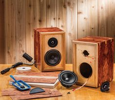 These DIY Bookshelf Speaker Kits allow do-it-yourselfers to custom-build their own home stereo speakers. Diy Bookshelf Speakers, Home Stereo Speakers, Wooden Speakers, Cool Bookshelves, Diy Speakers, Bluetooth Speakers, Diy Subwoofer, Subwoofer Box Design, Speaker Box Design