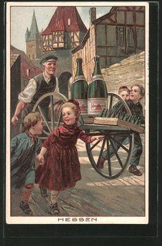 AK Hessen, Reklame für Mineralwasser Apollinaris, Kinder in hessischer Tracht,