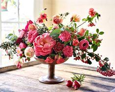 Overflowing florals in a vintage centerpiece