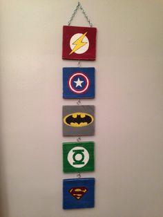 Superhero Wall Art Hanging-Flash Superman Batman Captain America Green Lantern Thor Ironman Hulk Spiderman Wonderwoman Symbols Pallet Wood on Etsy, $68.00