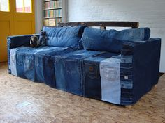 I recently made this denim cover for my other half's sofa-bed that sits in his new studio.