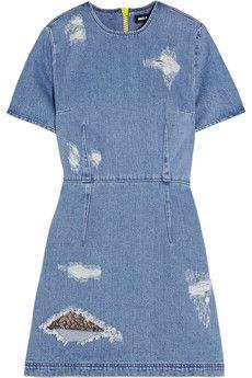 Jeans-Minikleid in Distressed-Optik
