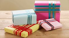If you have places to be this Christmas, opt for a ribbon-wrap over a bulky, crushable bow. This quick weaving technique ensures that your gift wrap is still stylish./