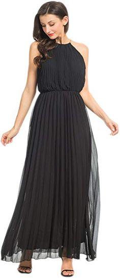 969dc20460d4 Persun Women's Open Shoulder Cut Out Back Pleated Chiffon Sleeveless Maxi  Dress Black Large at Amazon