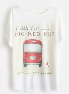 White Batwing Short Sleeve Red Bus Print T-Shirt 7.99
