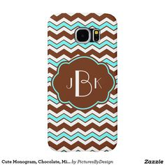 Cute Monogram Phone Case, Chocolate Brown, Mint & White chevron zigzag pattern. Personalize with your monogram on the Brown/Mint label. This design is available for a number of different device case. Select CUSTOMIZE to choose the phone or device of your choice. #chevron #chocolate #mint #bold