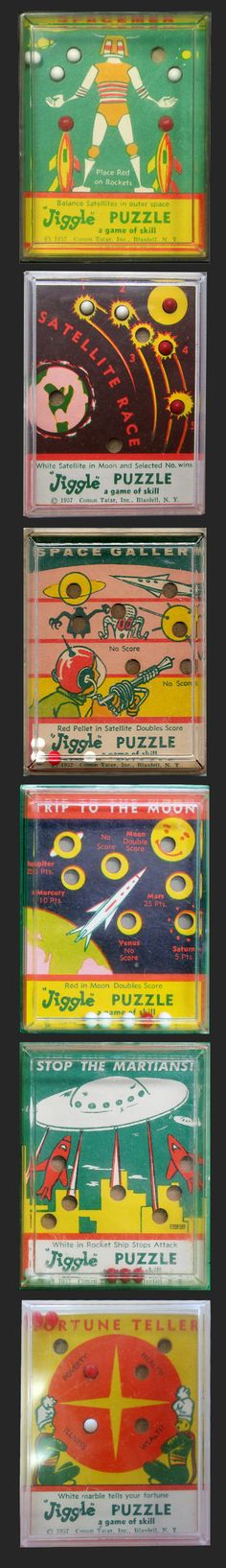 Space Jiggle Puzzles Set by Comom Tatar, 1950's (click to EXPAND pin)