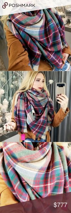 OVERSIZE BLANKET PLAID PRINT  SCARF Brand new Boutique item  Check out the colors on this amazing oversized blanket scarf!! A stunning mix of reds, blues, yellow and emerald green etc on a tan background! The styling options are limitless!   This scarf is a must have for many seasons to come!  Fabulous gift idea for you or someone you love!  100% acrylic  Oversized blanket scarf gift present winter warm Christmas holidays cold weather staple . Accessories Scarves & Wraps