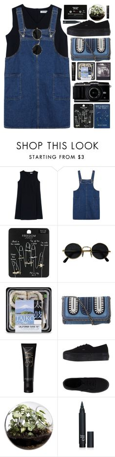 """strollin'"" by annisaamara ❤ liked on Polyvore featuring мода, Jil Sander, Topshop, Polaroid, STELLA McCARTNEY, Vans, Home Essentials, CASSETTE, black и Blue"