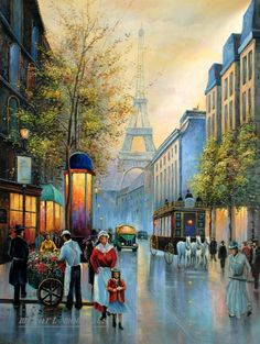 Oil Painting Street Paris with Eiffel Tower on Canvas 36x48