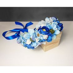 Blue flower CROWN WREATH artificial flowers wedding royal blue fresh... ($75) ❤ liked on Polyvore featuring home, home decor, blue wreath, blue home decor, royal blue home decor and blue home accessories