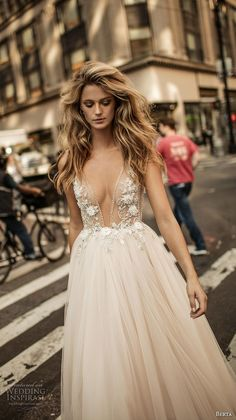 berta fall 2017 bridal sleeveless deep v neckline heavily embellished bodice tulle blush color skirt romantic sexy a  line wedding dress low back chapel train (009) mv zv