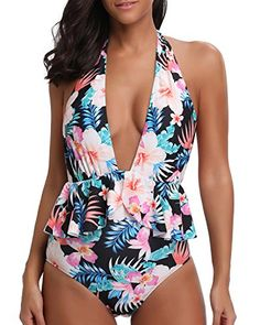 Precise Women Sexy One Piece Bikini Halter V-neck Boho Floral Printed Monokini Hollow Out Tie Knot Front Backless Swimsuit Ruffles Patch Luggage & Bags