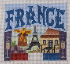 Denise DeRusha Designs France Hand Painted Needlepoint Canvas 18 count