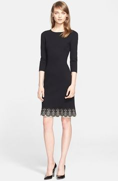 St. John Collection Jacquard Lace Hem Micro Faille Knit Dress available at #Nordstrom