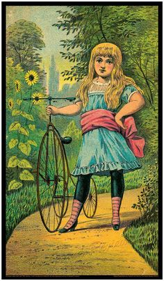 Antique Bicycle - Vintage Bike Print - Young Girl - Very Early Steel Framed Trike