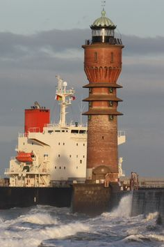 Lighthouse of Saint-Pol Dunkerque, Nord Pas de Calais, France. Only French art-deco lighthouse.