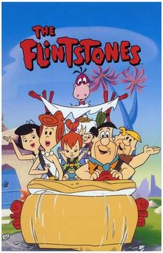 The Flintstones - The Flintstones is an animated, prime-time American television sitcom that was broadcast from September to April on ABC. The show was produced by Hanna-Barbera. The Flintstones was about a working-class Stone Age Cartoon Posters, Cartoon Tv, Cartoon Shows, Classic Cartoon Characters, Classic Cartoons, Animated Cartoon Characters, Vintage Cartoons, Vintage Posters, Desenhos Hanna Barbera