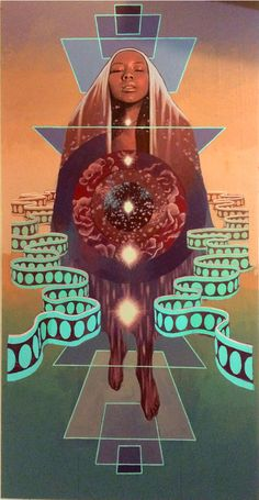 "Joshua Mays ""Aligned"" is now showing in ""The Celestian Prophesy"" with more of my latest works at Oakland Terminal through February Psy Art, Afro Art, Black Women Art, Dope Art, Visionary Art, Sacred Geometry, Female Art, Art Inspo, Fantasy Art"
