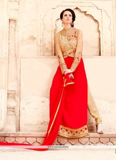 This red georgette designer suit is including the wonderful glamorous showing the feel of cute and graceful. The ethnic embroidered and patch border work within the attire adds a sign of elegance stat...