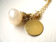 Love necklace pearl White gemstone Bridal necklace gift by Vitrine