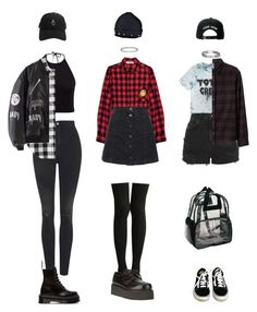 """How to style: Flannels"" by grungeclothes ❤ liked on Polyvore featuring Topshop, High Heels Suicide, Dr. Martens, Vans, Underground and Trukfit"
