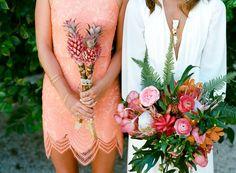 Tropical fall wedding florals