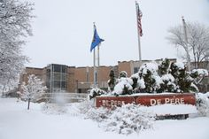 A snow covered City Hall in downtown De Pere (photo by Dennis Jensen)