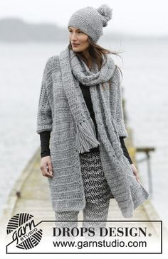 Crochet DROPS jacket with double trebles and double crochet in 1 thread Cloud or 2 threads Air. Size: S - XXXL.