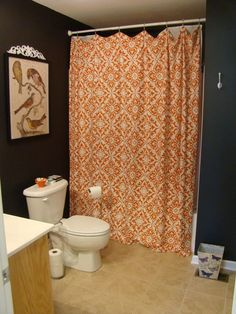 Orange and grey shower curtain with chevron towel! I have this ...