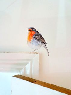 Robin wall sticker, robin wall decal, bird wall decor, light switch bird decal, robin art, bird home decor, robin gift, wall sticker robin - printed from my original watercolour and ink painting. This robin can perch, to great effect, on a wide variety of surfaces (on light switches,