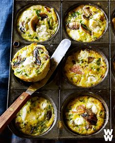 Crispy bacon, tangy goat cheese and sautéed mushrooms...yes, please! Fill your stomach with one of these frittatas!