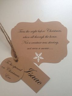 Personalised Christmas Eve Box Tag Set on Etsy, £3.50