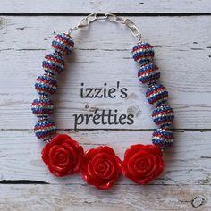 Red flower Red White & SPaRkLe rhinestone necklace by Izzie's Pretties