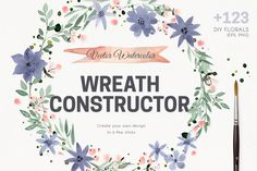 Watercolor Vector Wreath Constructor by Favete Art on @creativemarket