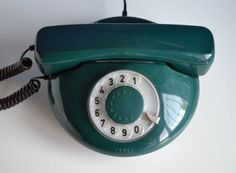 Working Rotary Telephone Tesla Green and Round by oldschoolvibes