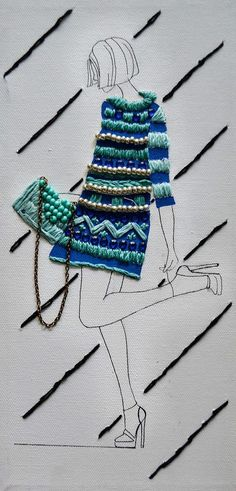 Embroidered Fashion Illustrations on Canvas on Behance #Embroiderystitches