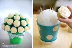 Cupcake Flower Pot - diameter styrofoam ball for 10 cupcakes. Insert toothpicks at 45 degree angle to hold cupcakes securely. Then cut green tissue paper into strips and fold accordion style between cupcakes to mimic leaves. Cupcake Flower Pots, Cupcake Boquet, Cake Bouquet, Cake Flowers, Edible Flowers, Flower Boquet, Cupcake Wedding, Potted Flowers, Rose Cupcake