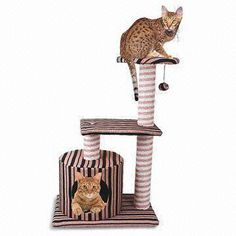 Thick Stripe Fabric Cat Tree, Made of Cotton, Measures 76cm